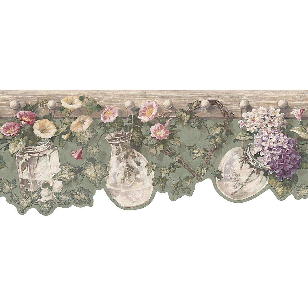 8.5 In. H Green Die-Cut Floral and Ivy Border