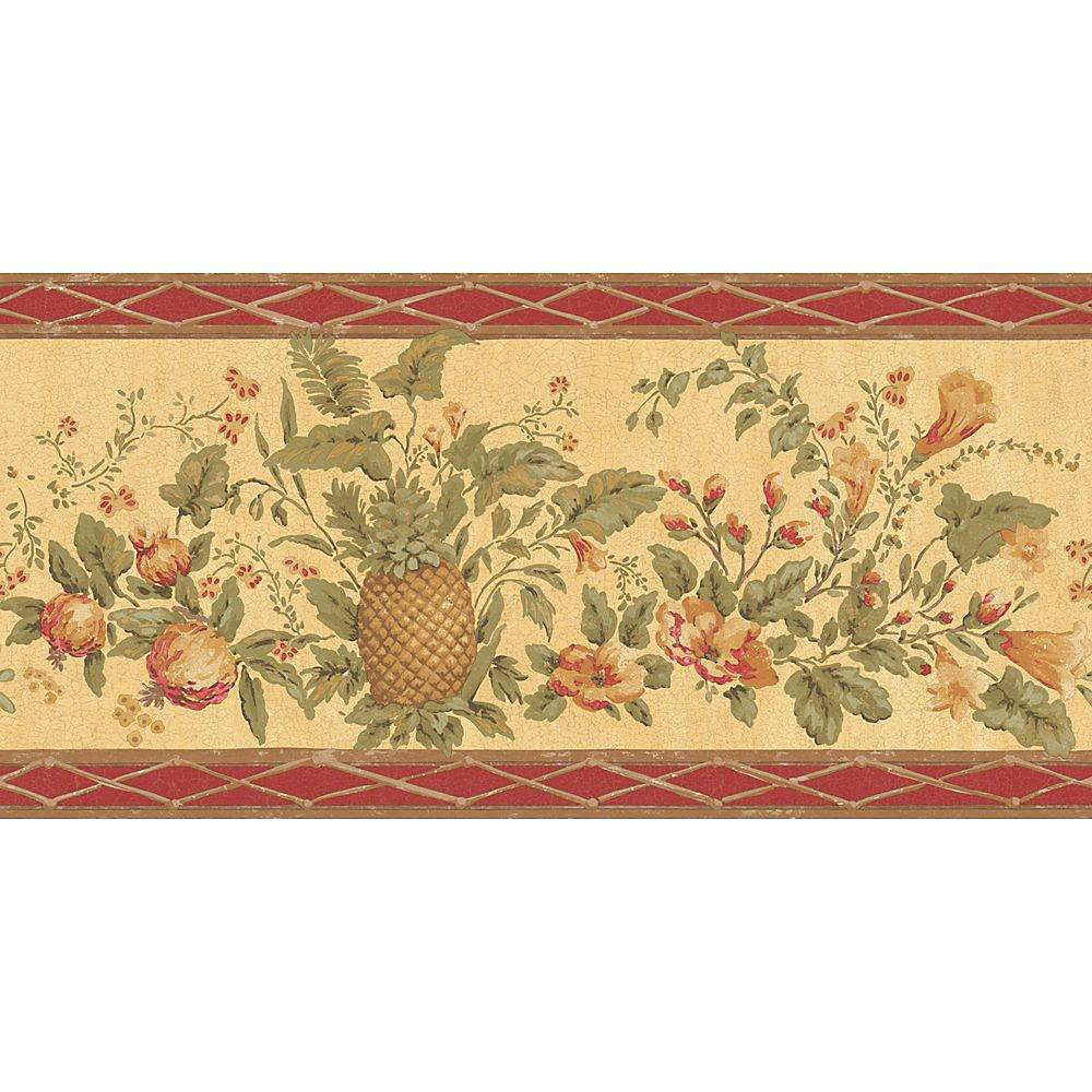 10.25 In. H Red and Beige Fruit and Floral Border