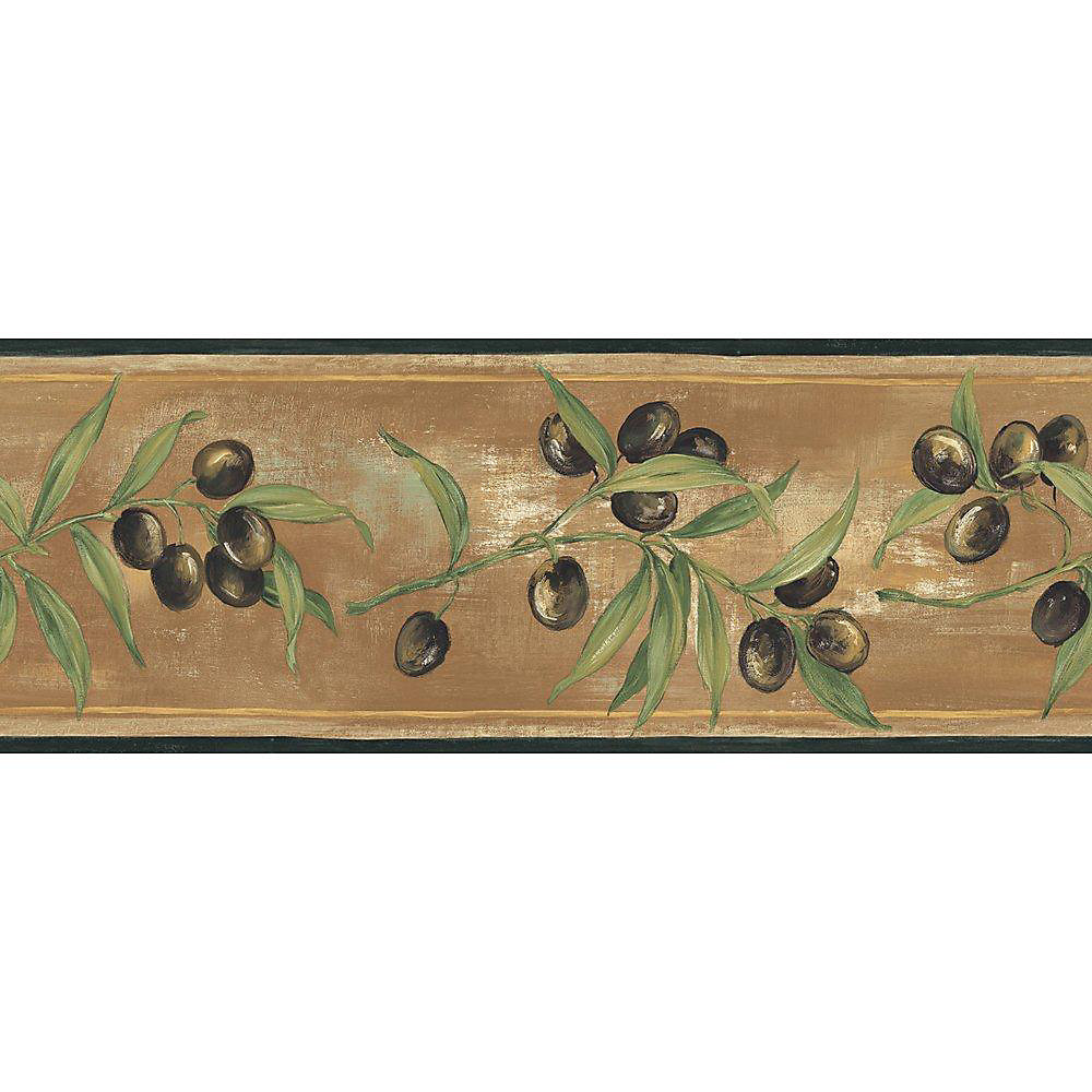 6.83 In. H Black and Brown Earth Tone Olive Scroll Border