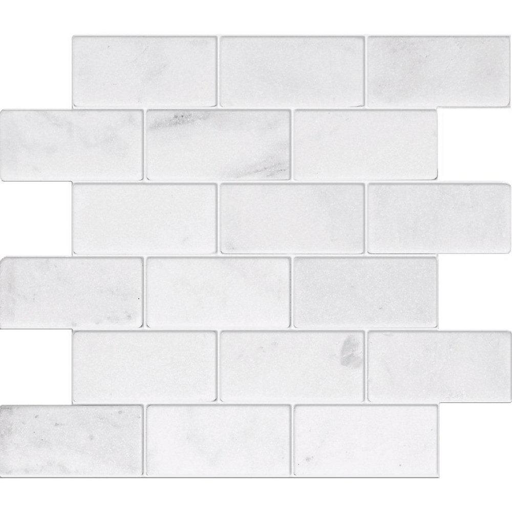 2-Inch x 4-Inch Carrara Marble Tumbled Mosaic Tile