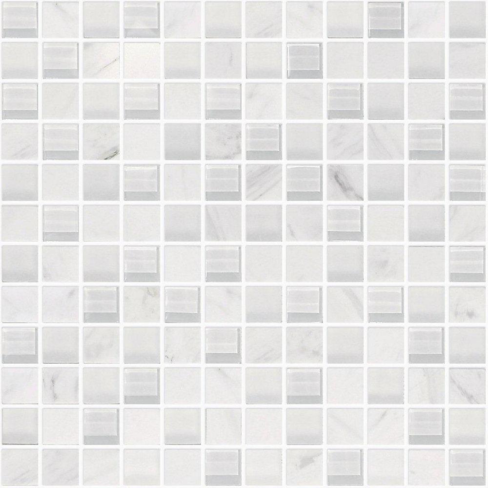 1-Inch x 1-Inch Carrara Marble Glass Blend Mosaic Tile