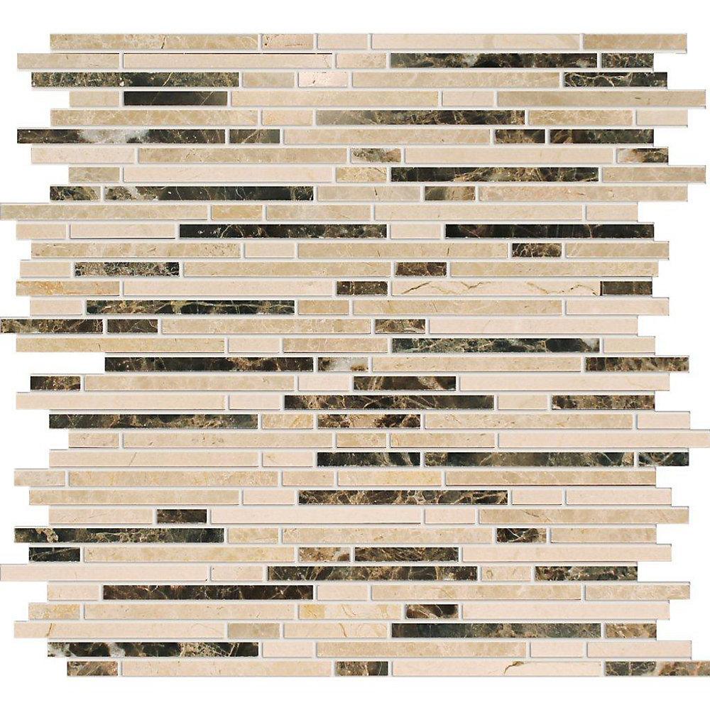 Polished Emperador Dark/Crema Marfil Marble Blend Mosaic Tile