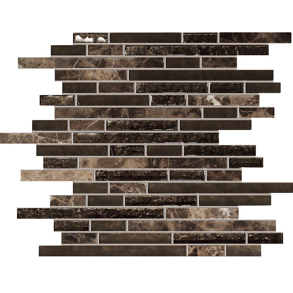 Waterfall Emperador Dark Marble Glass Linear Blend Mosaic Tile