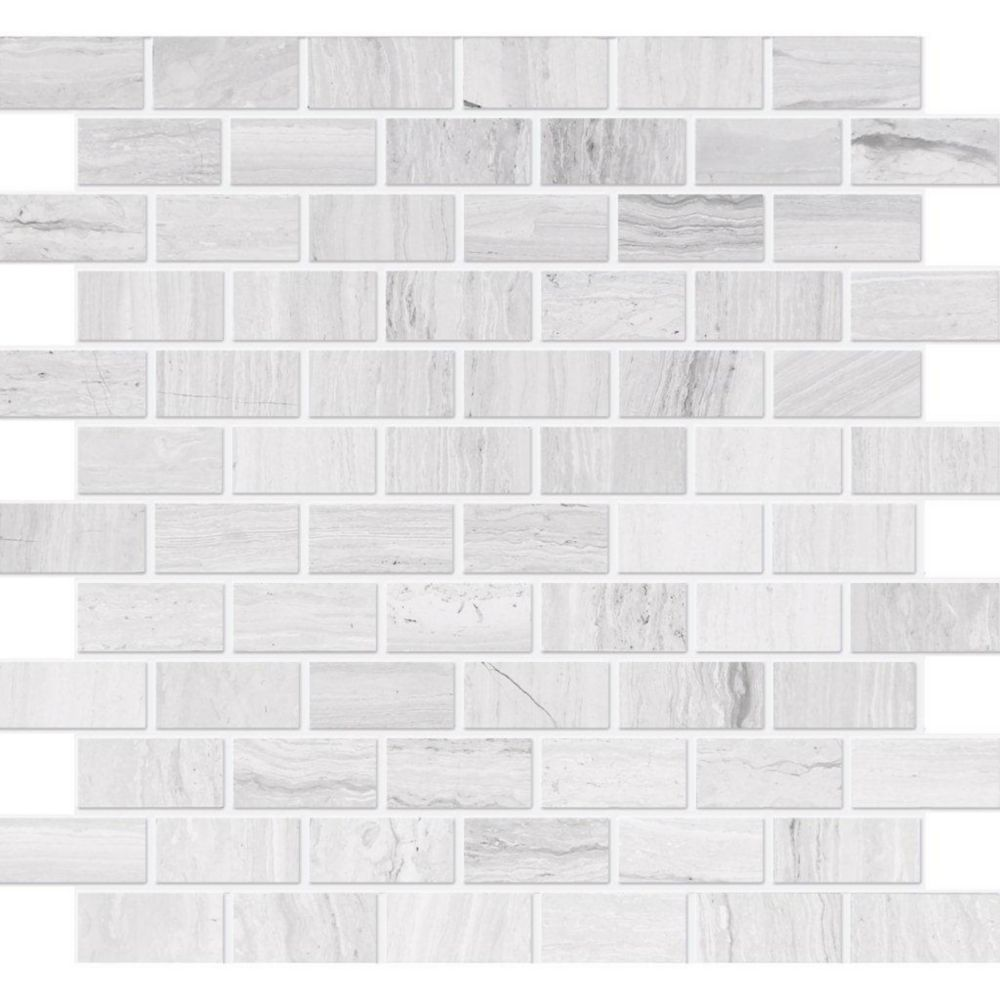 1-Inch x 2-Inch Polished Wooden White Limestone Mosaic Tile