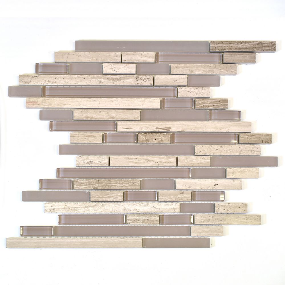 Waterfall Wooden White Limestone Glass Linear Blend Mosaic Tile