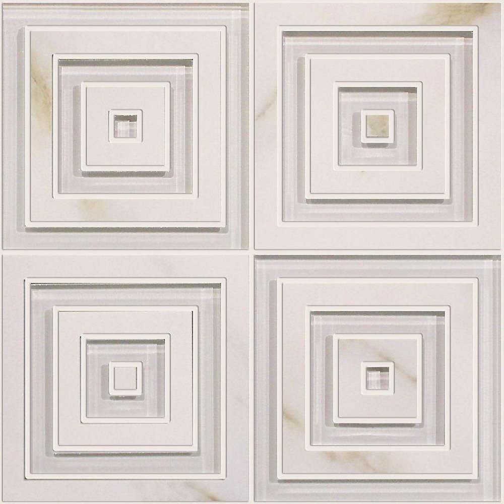 Waterjet Calacatta Porcelain Glass Blend Modern Square Design - 14 inches x 14 inches