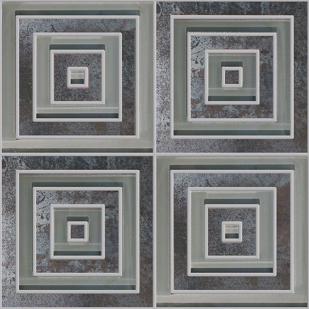 14-inch x 14-inch Porcelain Glass Blend Modern Square Waterjet Tile in Metallic Black
