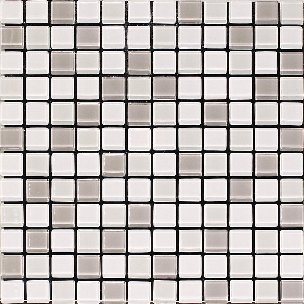 Self Adhesive SG09 Mix 4 mm Glass Blend Wall Tile in White