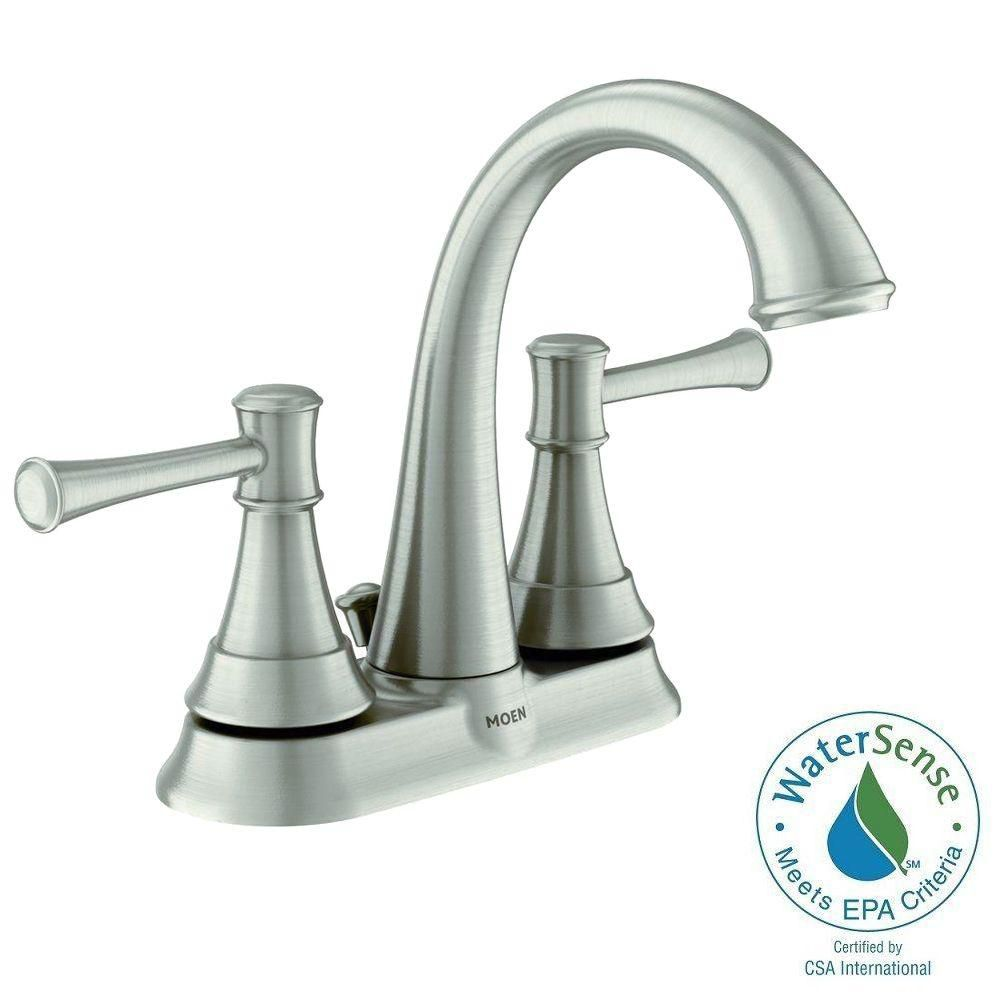 Ashville 2-Handle Bathroom Faucet with Microban Spot Resist in Brushed Nickel Finish