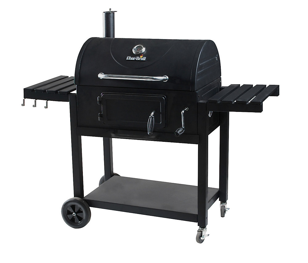 30 Inch Charcoal Grill with Folding Side Shelves