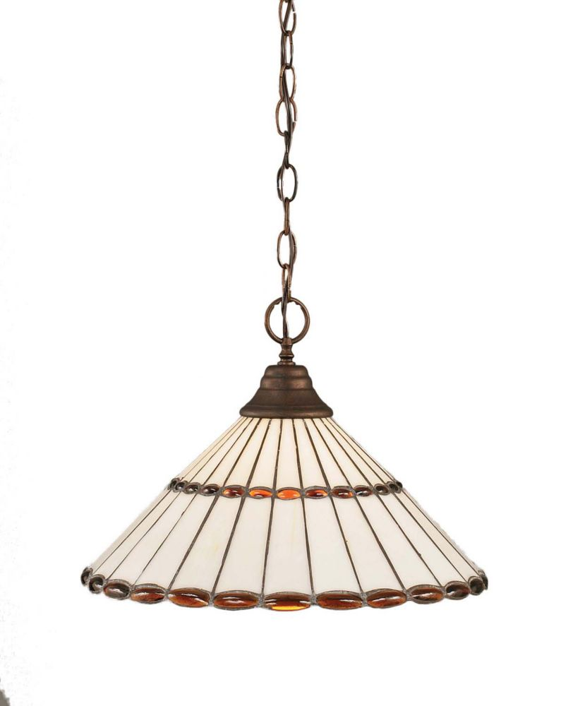 Concord 1 Light Ceiling Bronze Incandescent Pendant with a Honey and Brown Tiffany Glass