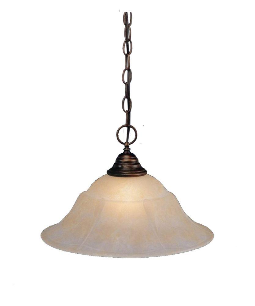 Concord 1 lumière au plafond Bronze Pendeloque incandescence par un verre ambre