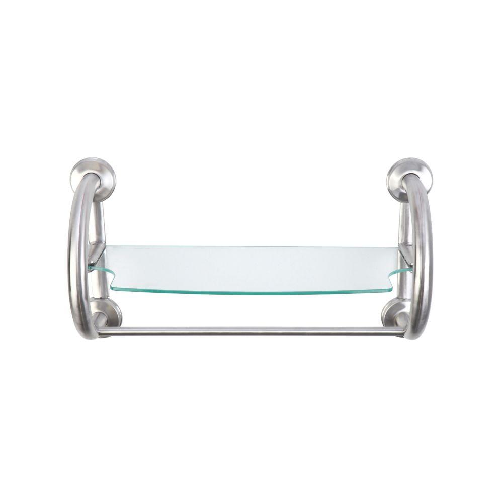 Grabcessories 2-in-1 Grab Bars Towel Shelf Brushed Nickel