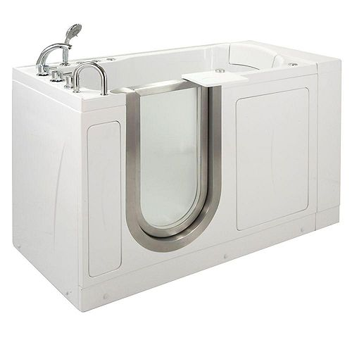 Ella Petite 4 Feet 4-Inch Walk-In Whirlpool Bathtub in White with Swivel Tray