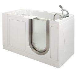 Ella Petite 4 Feet 4-Inch Walk-In Whirlpool Bathtub in White with Swivel Tray