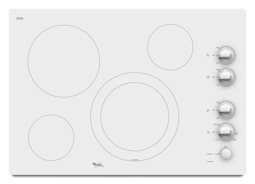 31-inch Gold<sup>®</sup> Electric Ceramic Glass Cooktop with Dual Radiant Element in White