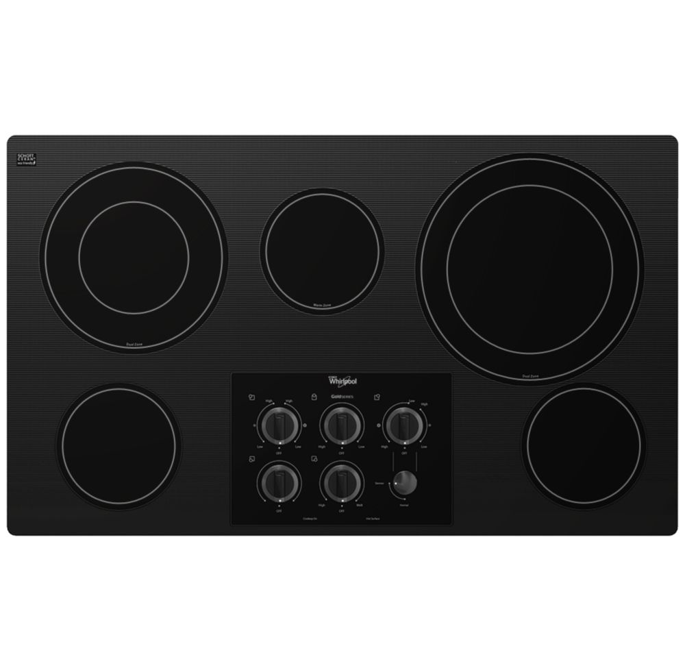 36-inch Gold<sup>®</sup> Electric Ceramic Glass Cooktop with Two Dual Radiant Elements in Black