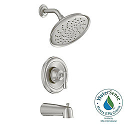 MOEN Ashville Single-Handle 1-Spray Tub and Shower Faucet in Spot Resist Brushed Nickel (Valve Included)