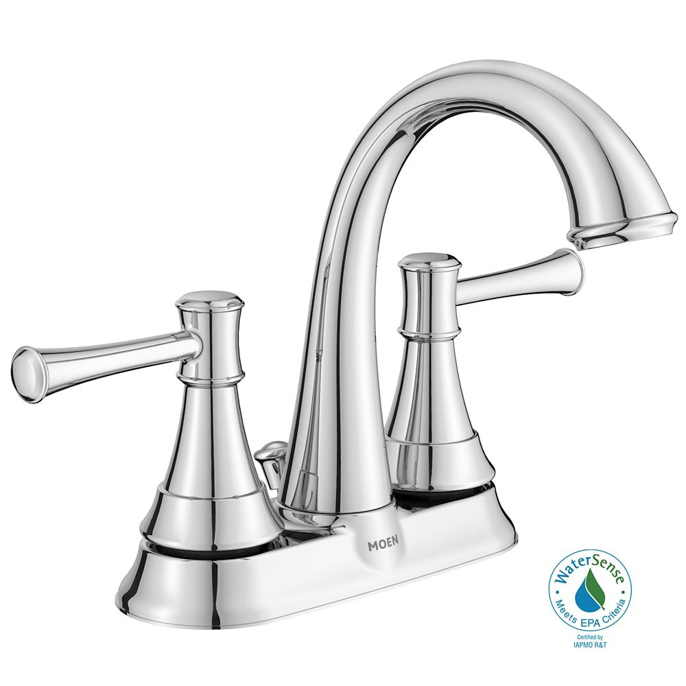 Moen ashville 2 handle bathroom faucet chrome finish - Kitchen sink faucets home depot ...