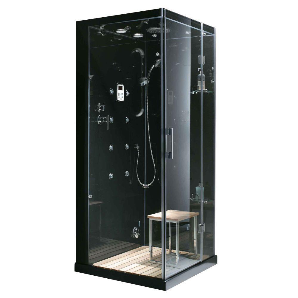 Moderne, élégante la douche à vapeur en espace clos avec des multi-jets de corps qui massage la p...
