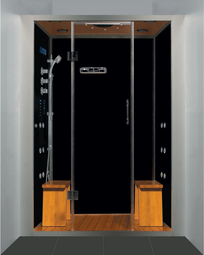 Luxury Steam & Shower Alcove Enclosure With Multi Body Massage Water Jets & Black Stone Base
