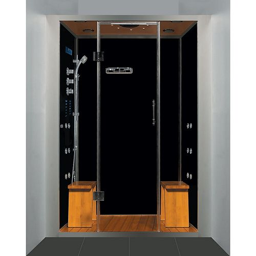 Steam Planet Galaxy 60 in. x 41 in. x 88 in. Steam & Shower Enclosure in Black with Quick Heating Steam Generator