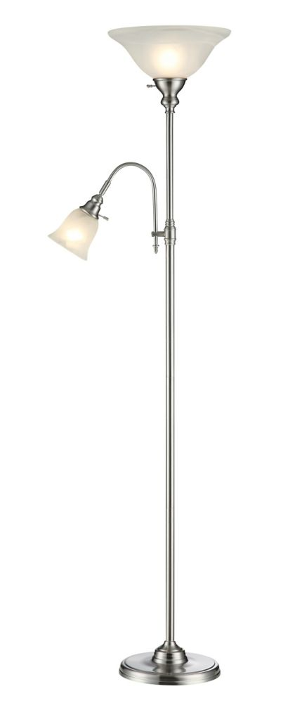 Floor Lamp with Reading Light 70.5 Inch- Brushed Steel Finish with Alabaster Glass Shades
