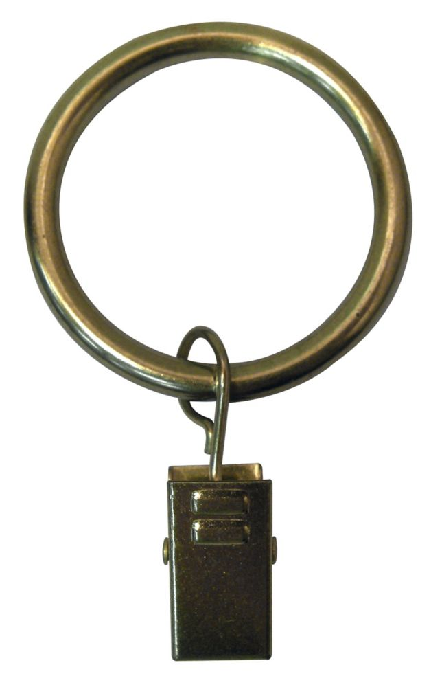 Home Decorators Collection 1 1/4-inch Curtain Rod Clip Ring in Brushed Brass