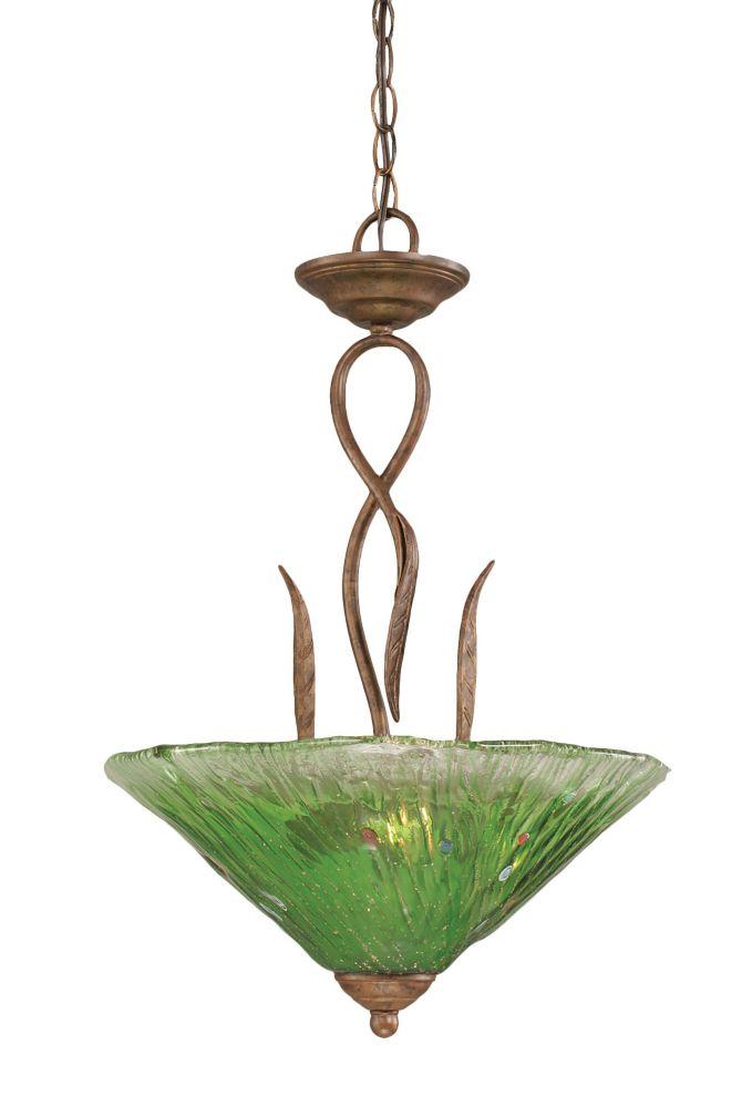 Concord 3 lumières plafond Bronze Pendeloque à incandescence avec un cristal en verre vert