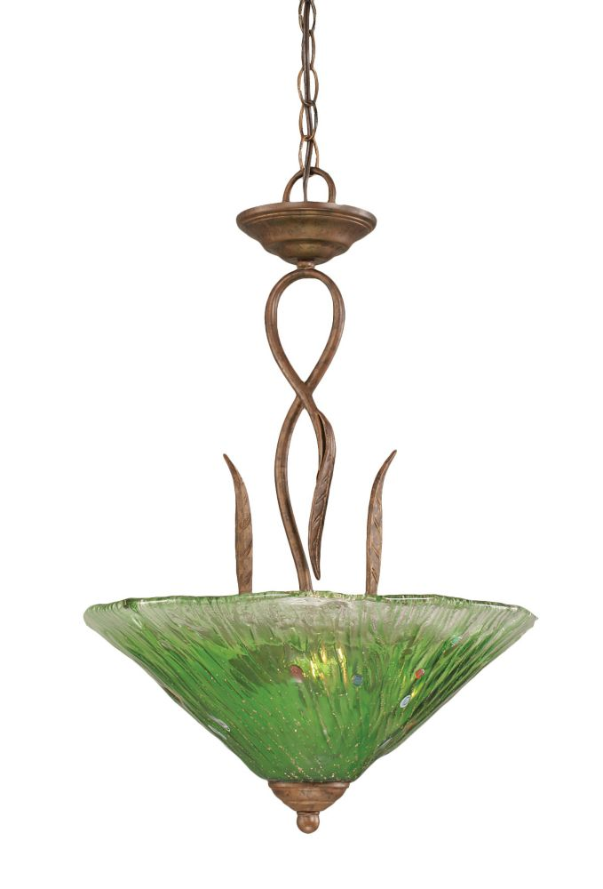 Concord 3-Light Ceiling Bronze Pendant with a Green Crystal Glass
