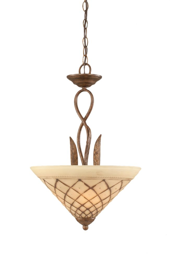 Concord 3-Light Ceiling Bronze Pendant with a Chocolate Icing Glass