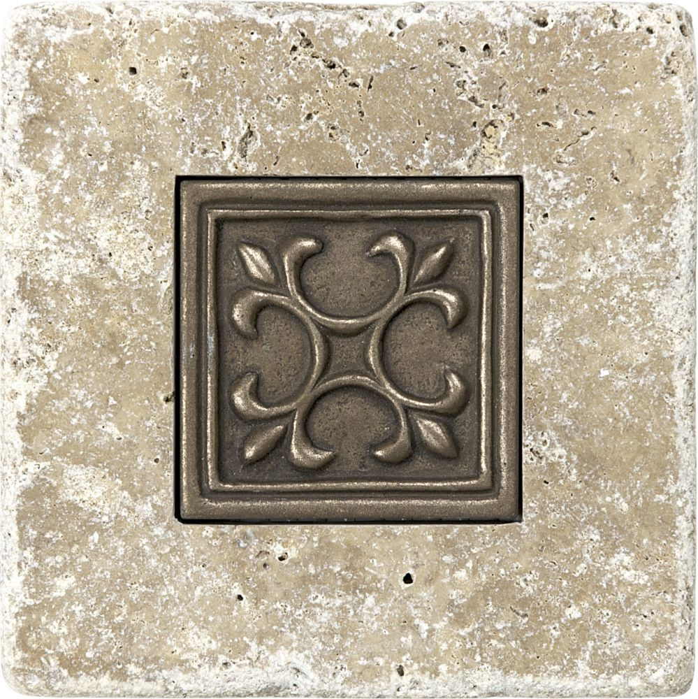 4-inch x 4-inch Tumbled Noce with 2-inch x 2-inch Metal Tile