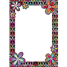 13-inch x 18-inch Dry Erase Memo Board with Peace Sign and Flowers Border