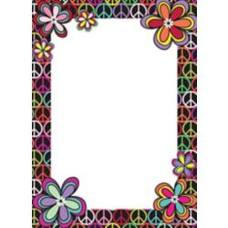 WallPops 13-inch x 18-inch Dry Erase Memo Board with Peace Sign and Flowers Border