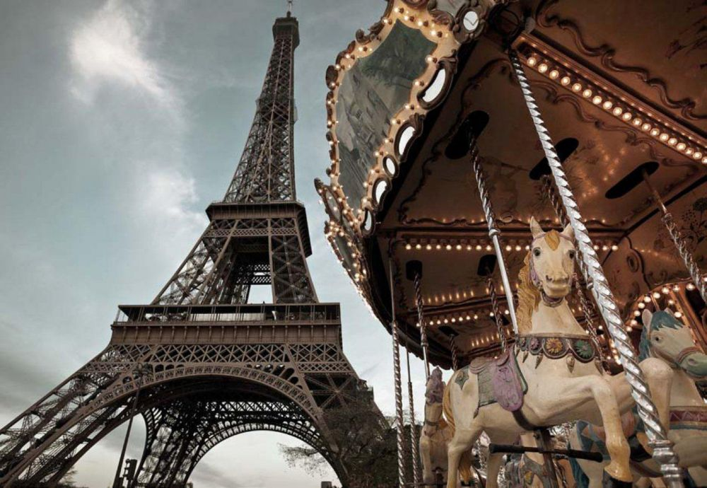 6 Feet x 4 Feet 2 Inches Carrousel de Paris Wall Mural