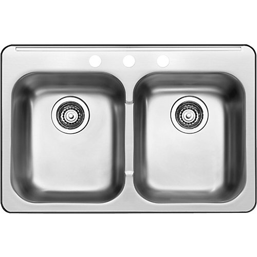8-inch Double Bowl Stainless Steel Sink