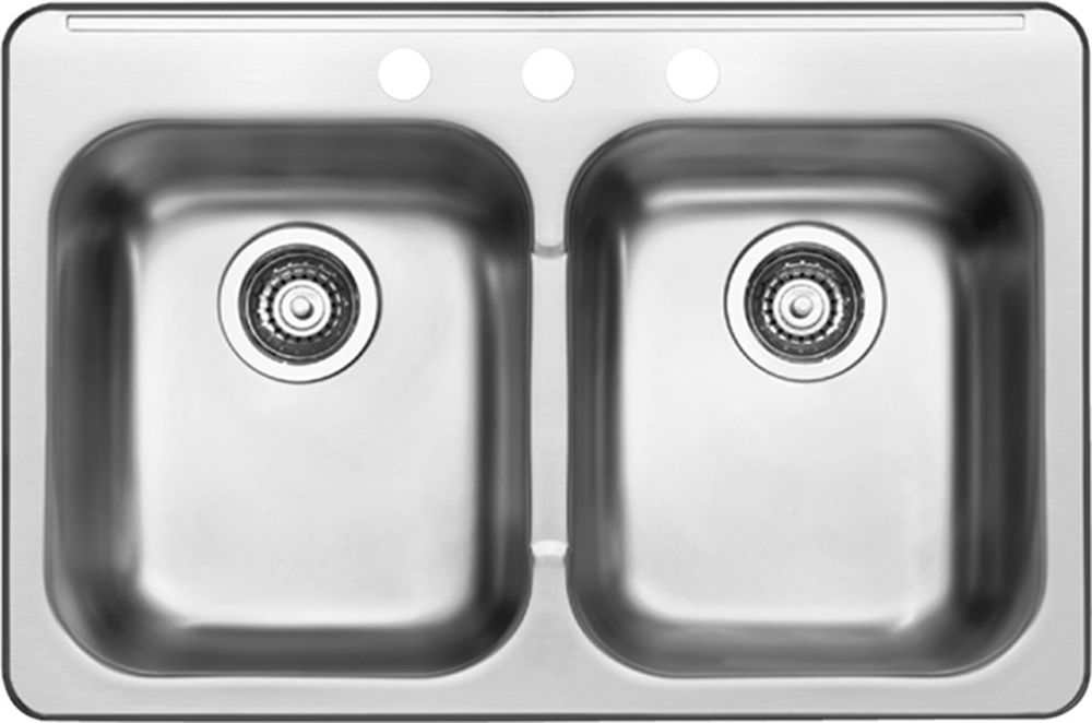 8 In. Double Bowl Stainless Steel Sink