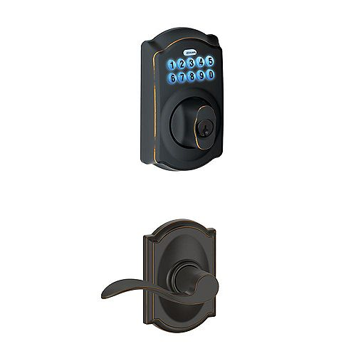 Schlage Camelot Aged Bronze Keyless Entry Keypad Deadbolt and Lever Handleset