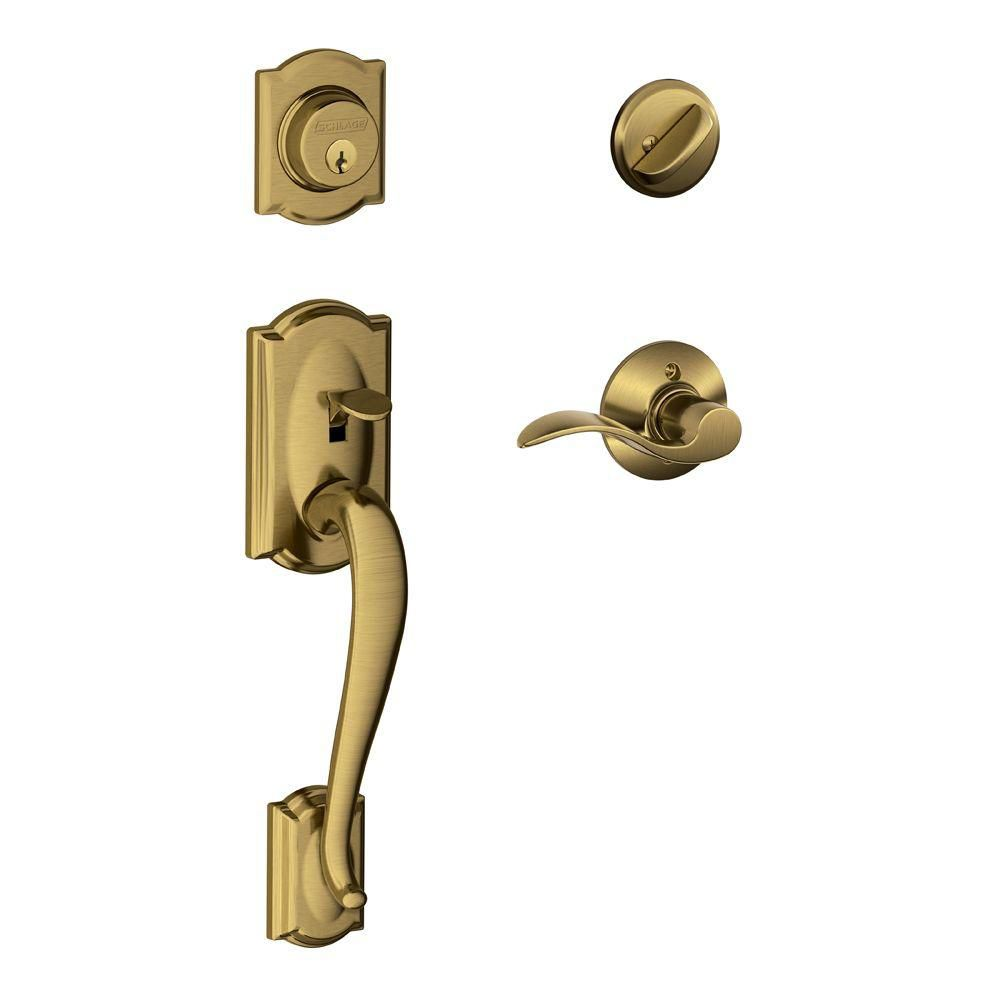 Camelot/Accent Antique Brass Door Lever Handle Set