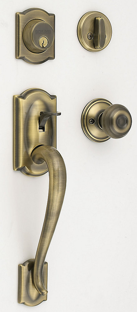 Camelot/Accent Antique Brass Door Knob Handle Set