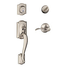Camelot Single Cylinder Handleset and Accent Lever Satin Nickel