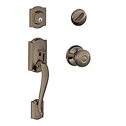 Schlage Camelot Single Cylinder Handleset and Georgian Knob Antique Pewter