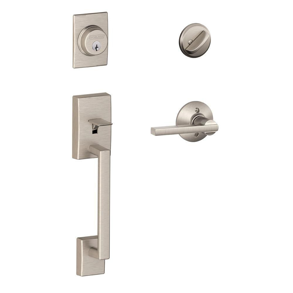 Schlage Century Satin Nickel Single Cylinder Entry Handleset and Latitude Lever