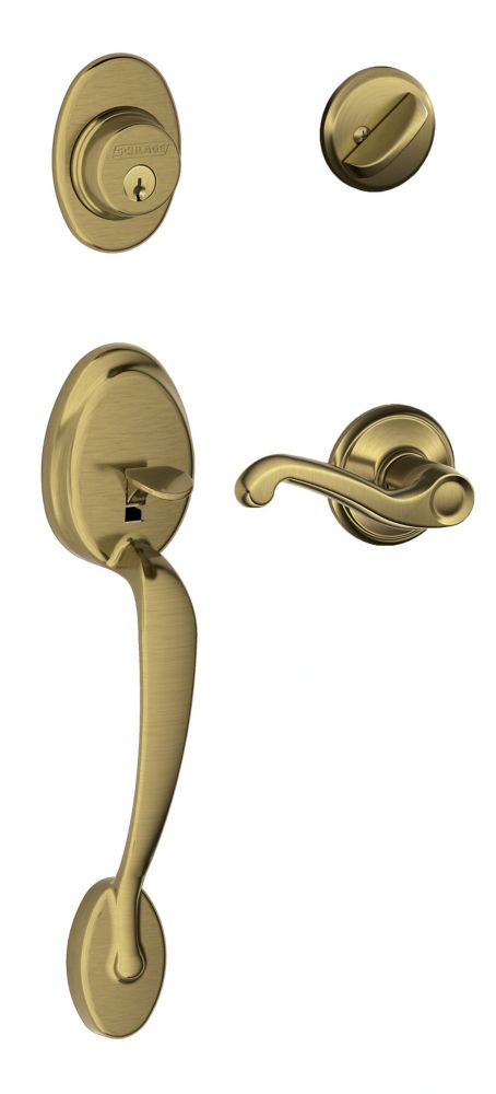 Plymouth/Flair Antique Brass Door Lever Handle Set