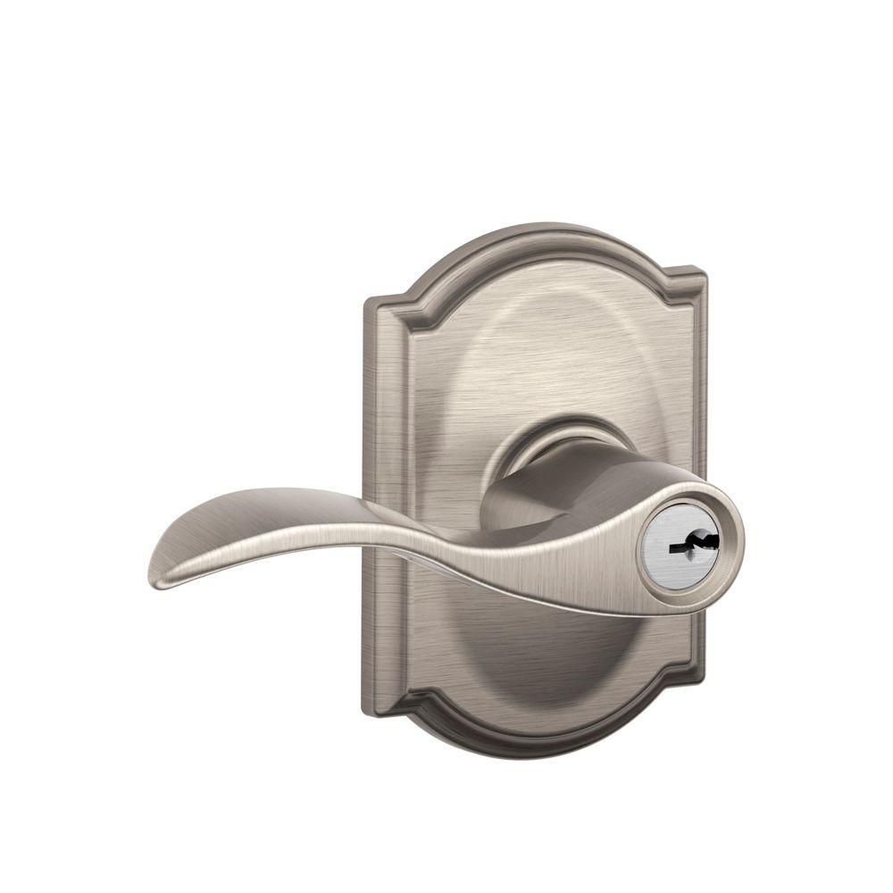 Accent Satin Nickel Keyed Lever with Camelot Decorative Rose
