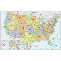 24 Inches H x 36 Inches W Dry Erase USA Map Wall Applique