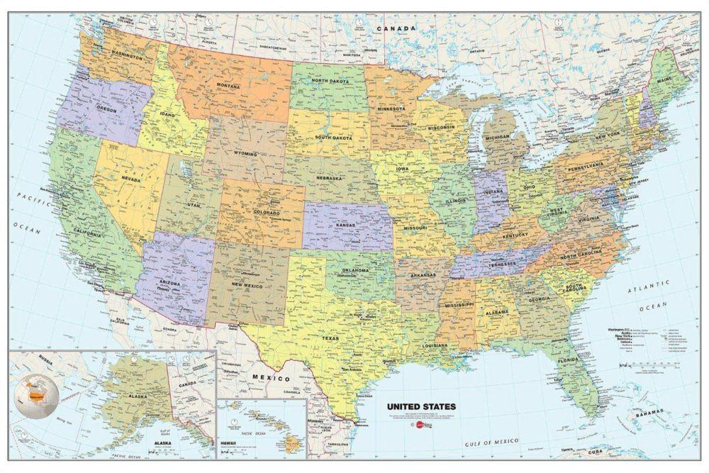 Appliqué Carte des Etats-Unis 24 po. H x 36 po. L. Effaçable à sec.