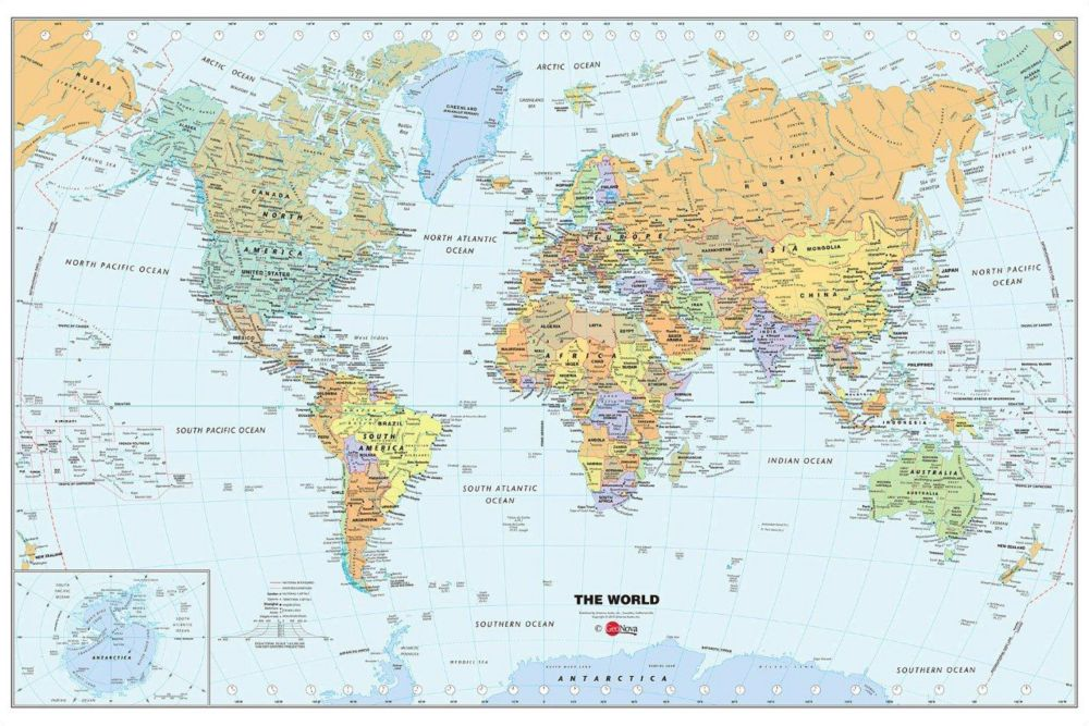 24 Inches H x 36 Inches W Dry Erase World Map Wall Applique
