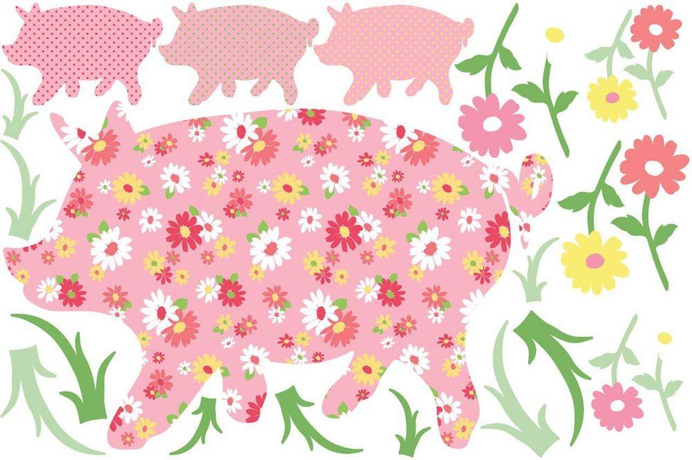 Appliqué Murale le cochon Scarlett
