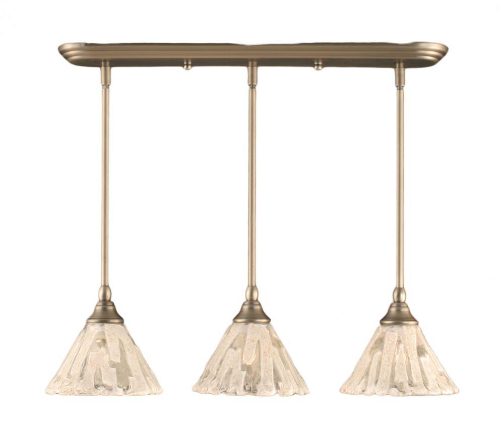 Concord plafond 3 lumières, nickel brossé Pendeloque incandescence par une verre cristal